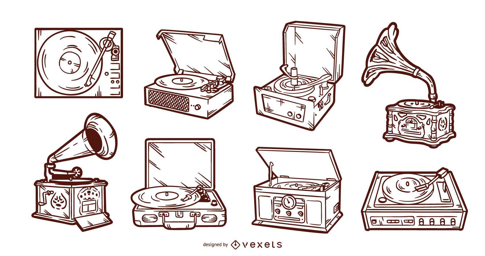 Conjunto de toca-discos vintage