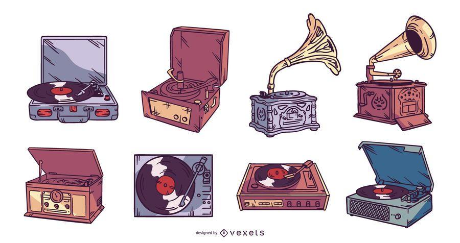 Vintage Vinyl Player Illustration Set