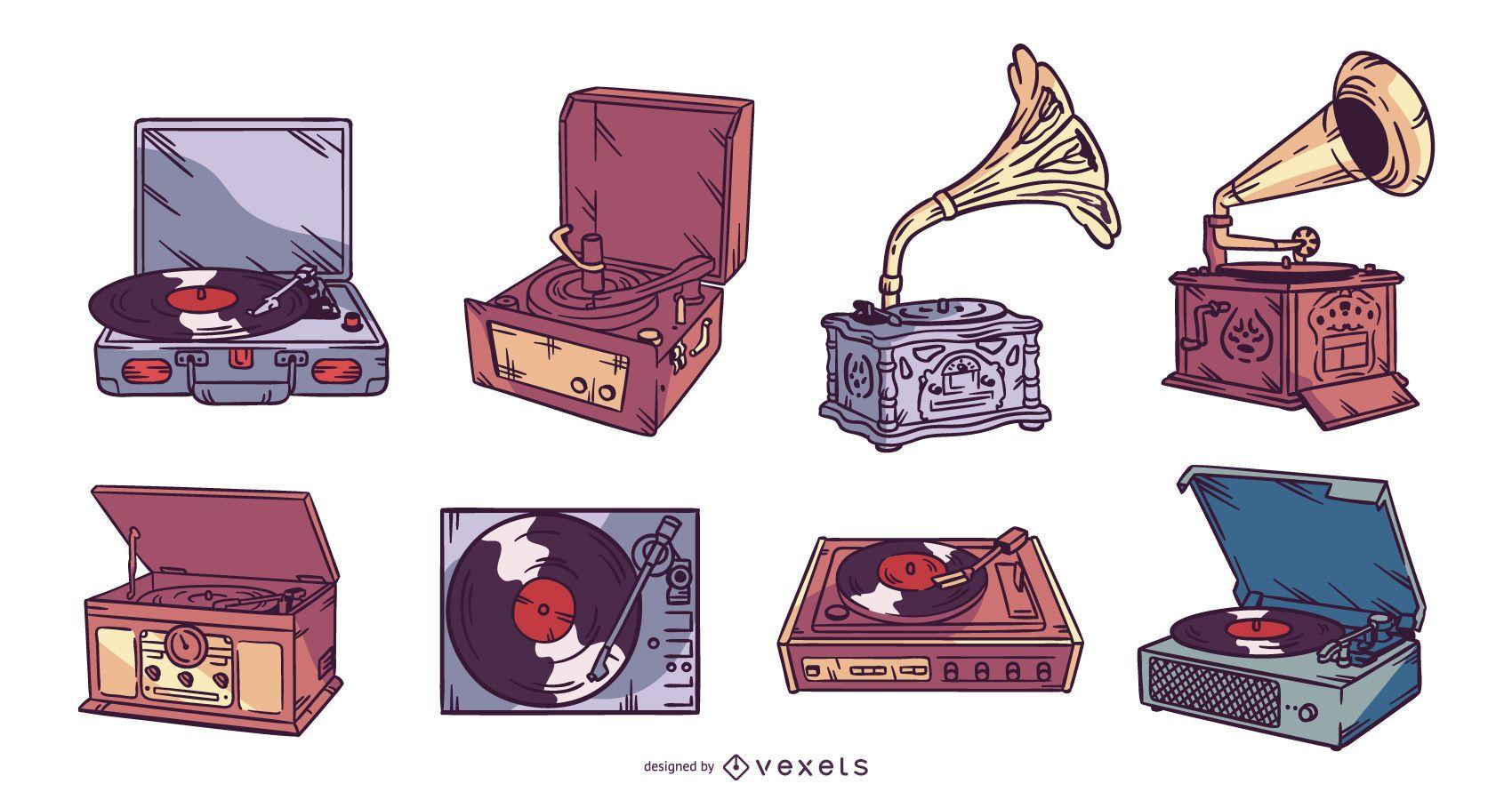 Conjunto de ilustración de reproductor de vinilo vintage