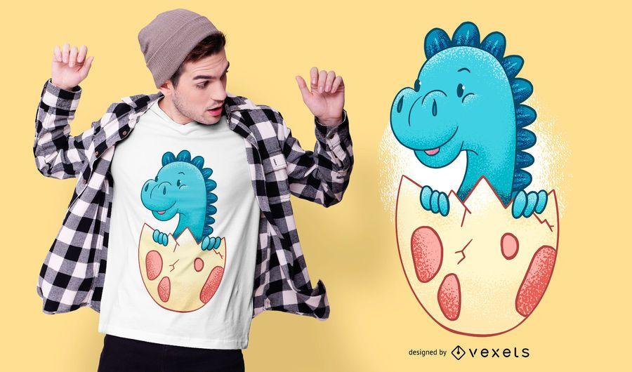 Baby Dinosaur in Egg Diseño de camiseta