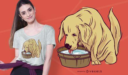 Diseño de camiseta Golden Retriever Drinking Water