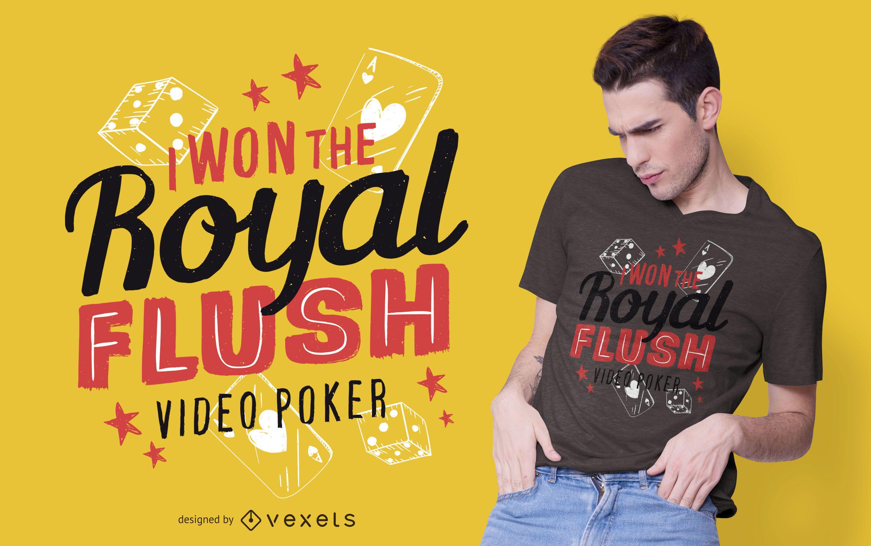 Diseño de camiseta de texto de video poker