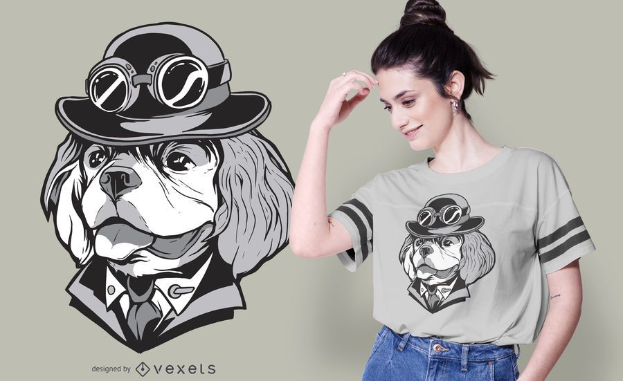 Cavalier Steampunk Dog T-shirt Design