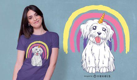 Design do t-shirt do cão do unicórnio do arco-íris
