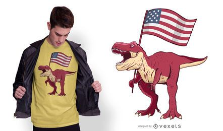 Design patriótico do t-shirt de T-rex