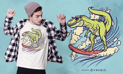 Diseño de camiseta de dinosaurio surf