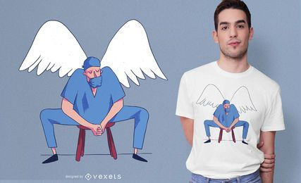 Diseño de camiseta Doctor Angel Illustration