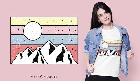 Design mínimo do t-shirt do por do sol da montanha