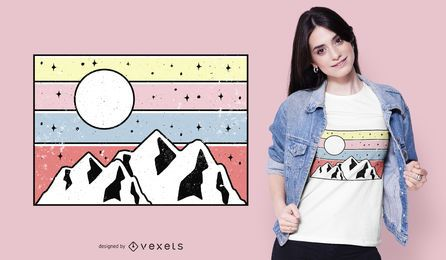 Minimaler Berg Sonnenuntergang T-Shirt Design