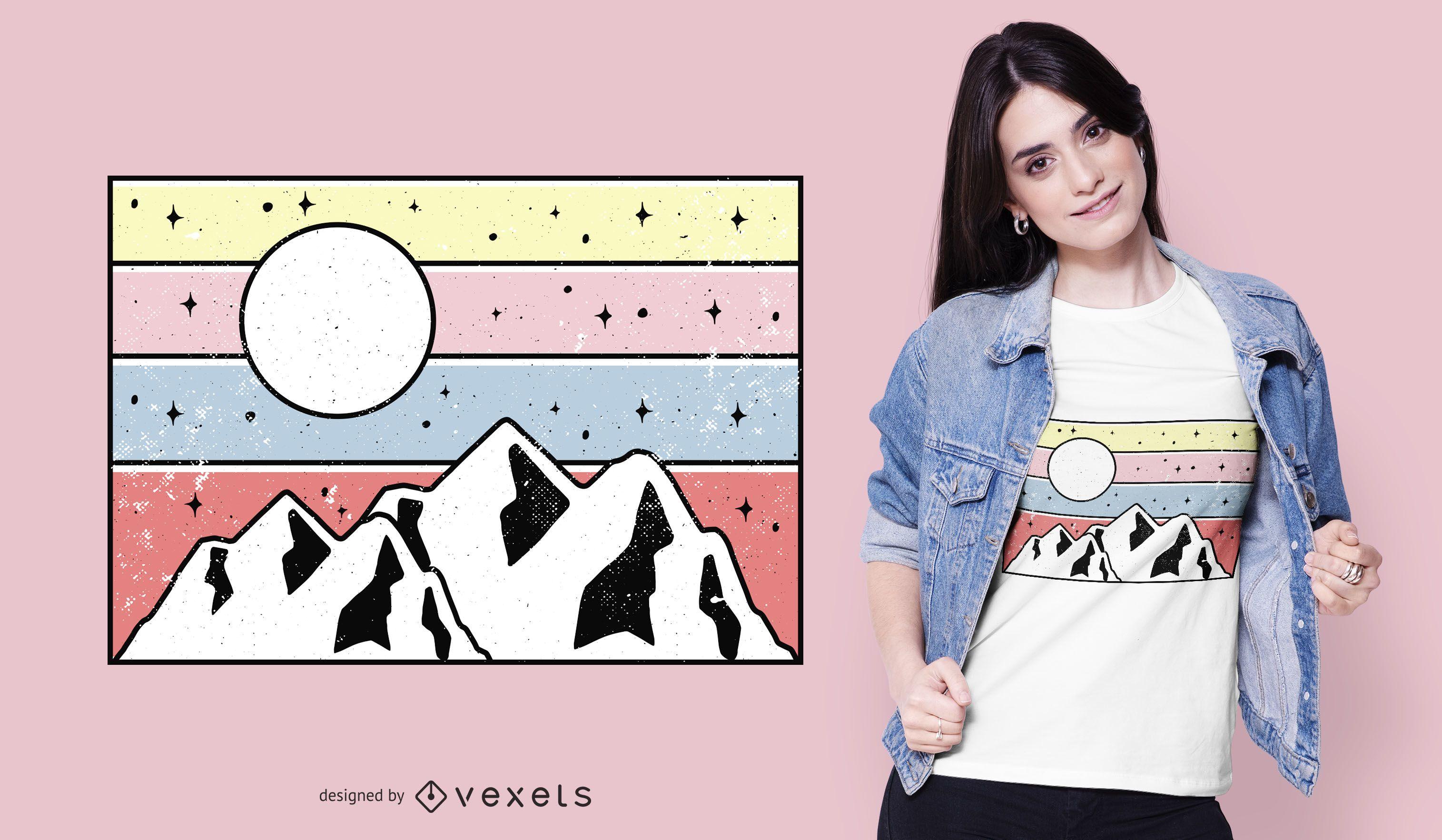 Design de camiseta para o pôr do sol da montanha mínima