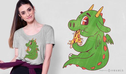 Design do t-shirt da pizza do dragão do bebê