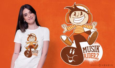 Diseño de camiseta de dibujos animados Music Rider