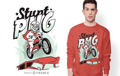Diseño de camiseta Stunt Pug