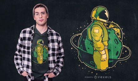 Diseño de camiseta astronauta en el espacio