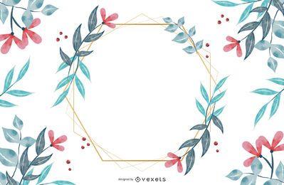 Design de moldura hexagonal de flor
