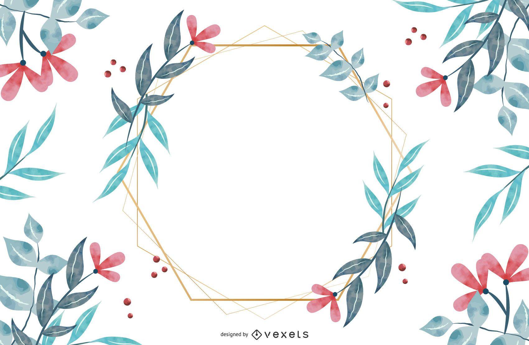 Diseño de marco hexagonal de flores