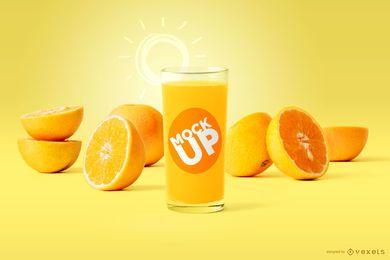 Maquete de vidro de suco de laranja