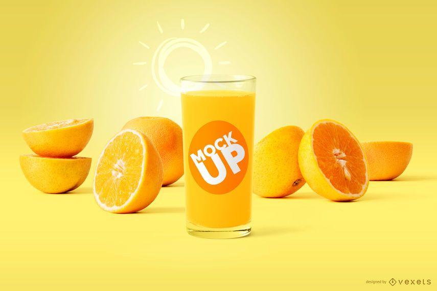 Orange juice glass mockup