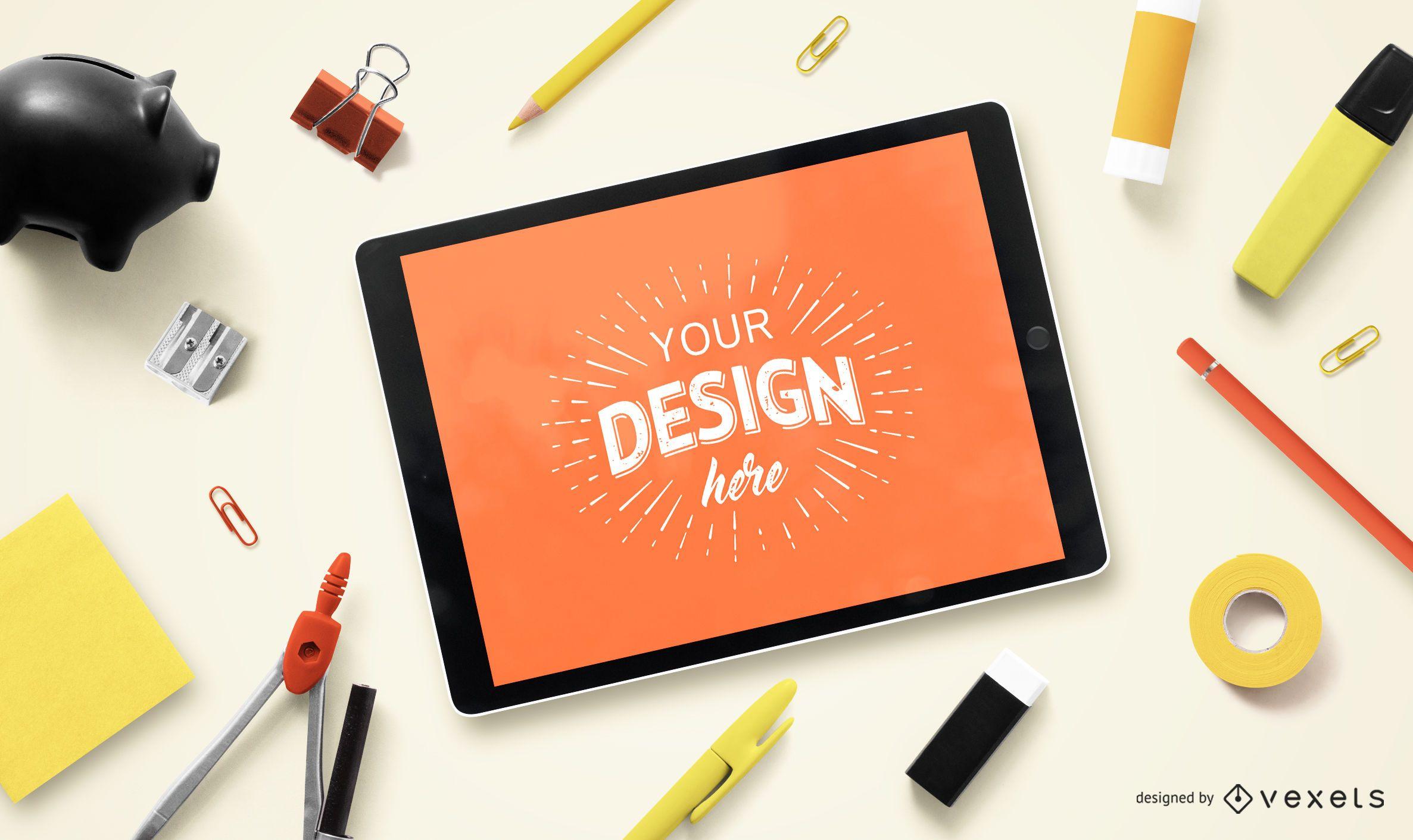 Maquete de composição educacional do iPad