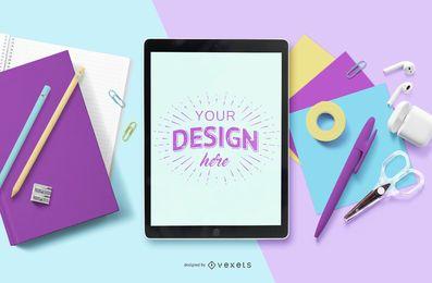 Composição educacional de maquete para iPad