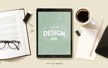 Maquete do iPad para educação online