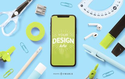 Education smartphone mockup composition