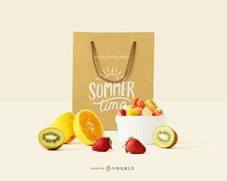 Maquete de frutas de sacola de compras