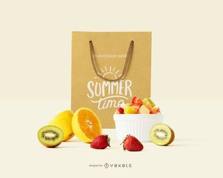 Shopping bag fruits mockup