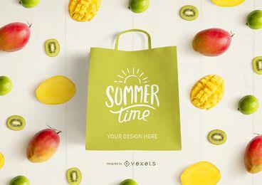 Composición de maqueta de frutas de bolsa de compras