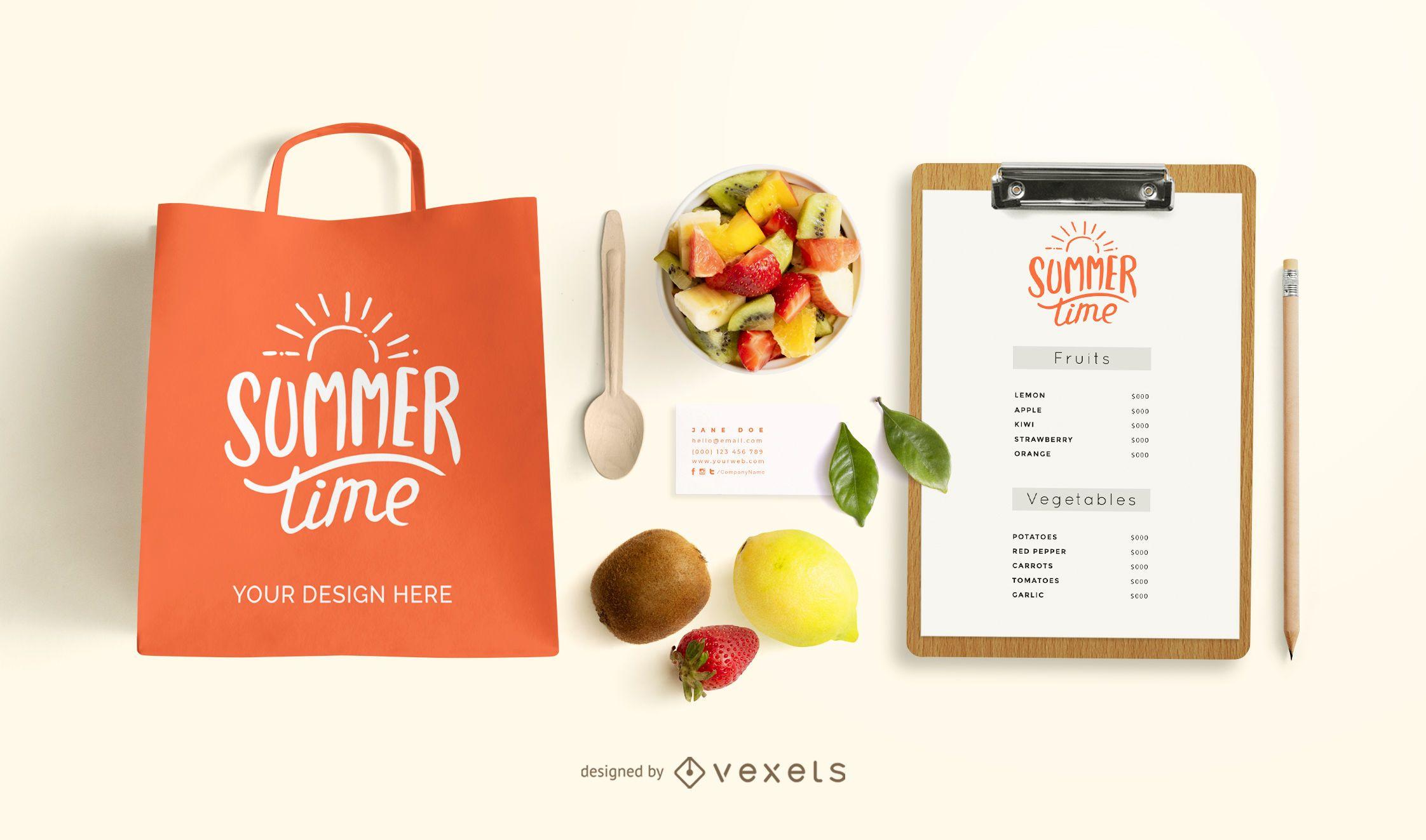 Fruits branding mockup composition