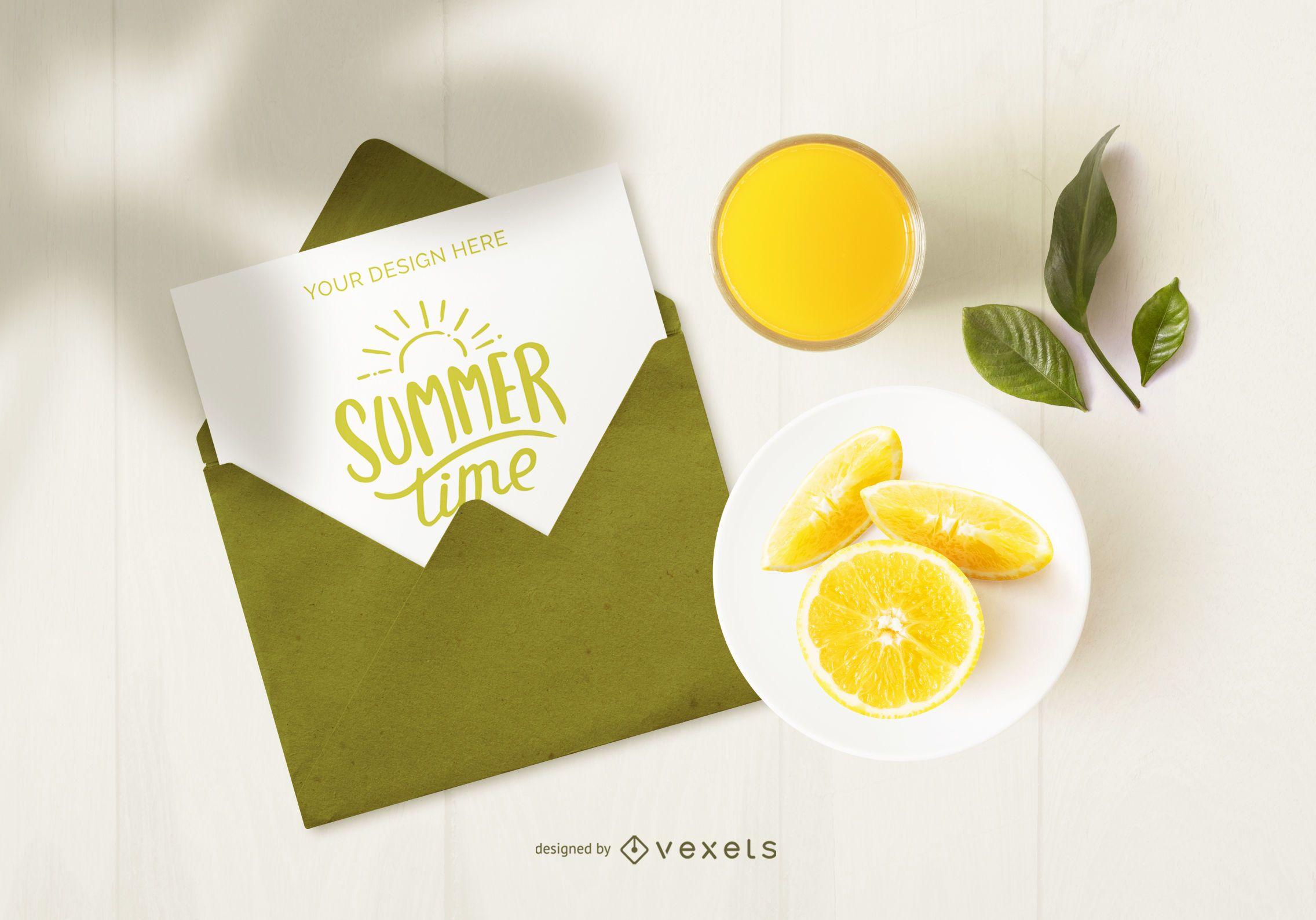 Fruits letter mockup