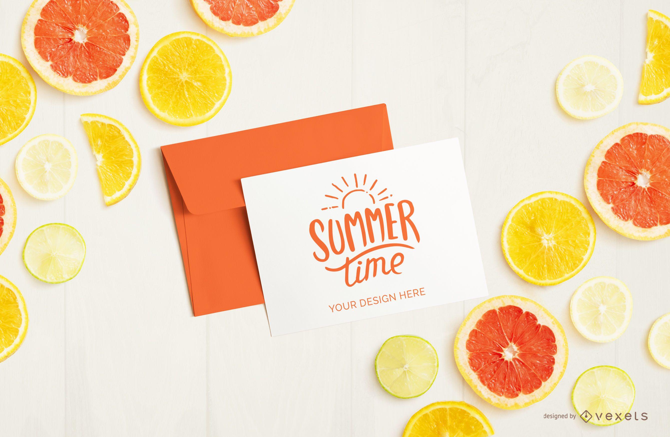 Maquete de frutas de carta e envelope