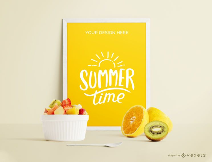 Framed poster fruits mockup
