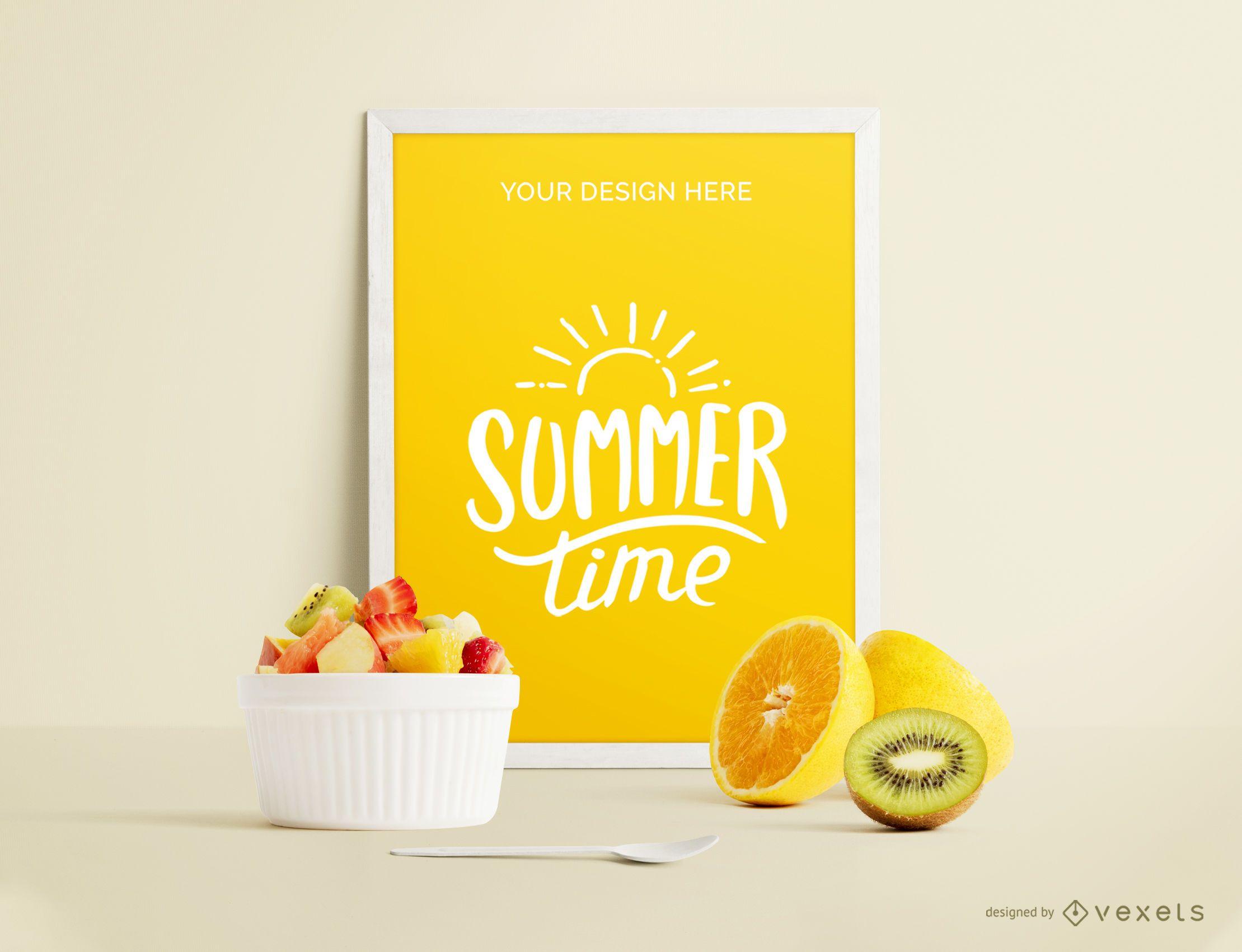 Framed poster fruits mockup