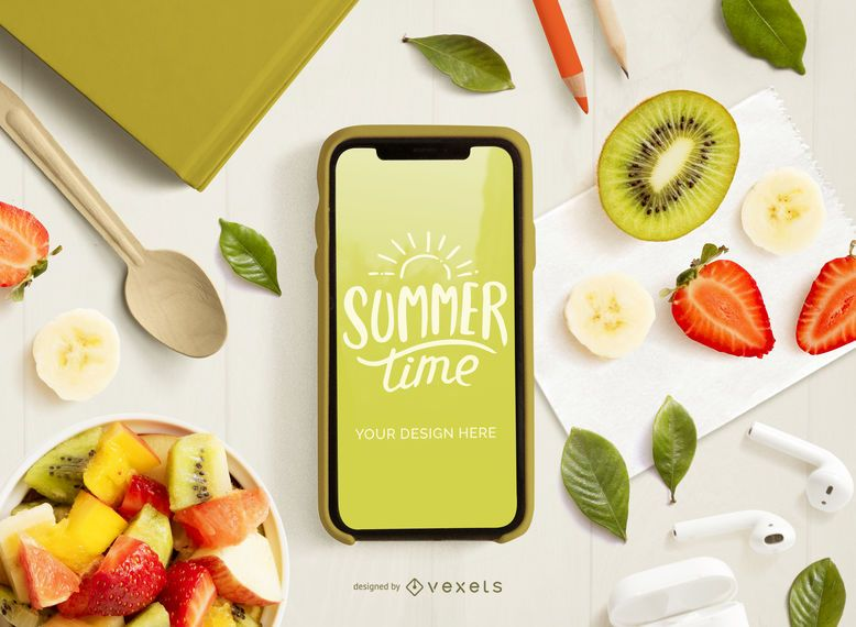 Phone and fruits mockup composition