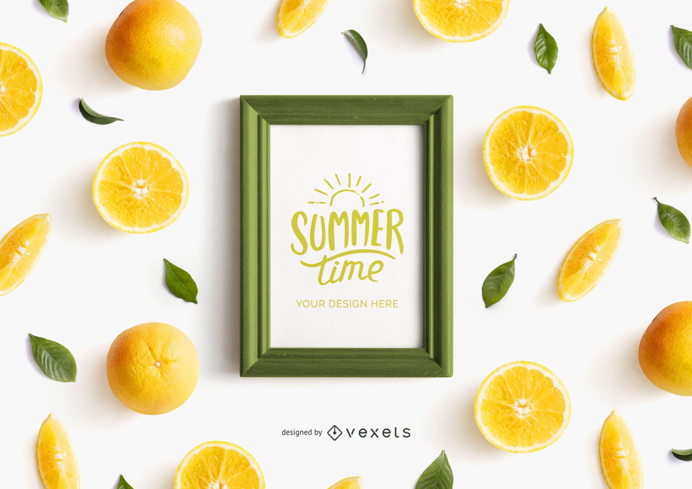 Maquete de moldura de fruta laranja