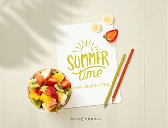 Paper sheet fruits mockup