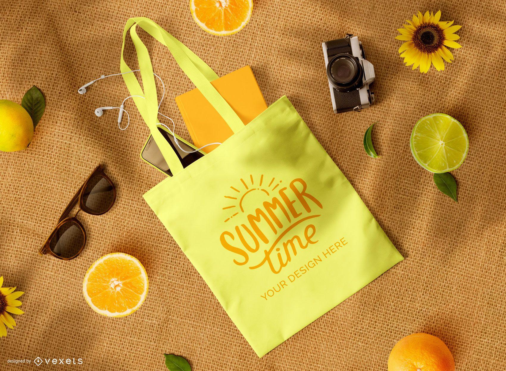 Tote bag fruits mockup composition
