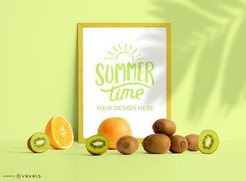 Cartel enmarcado composición de maqueta de frutas