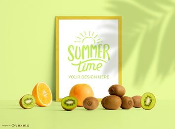 Framed poster fruits mockup composition