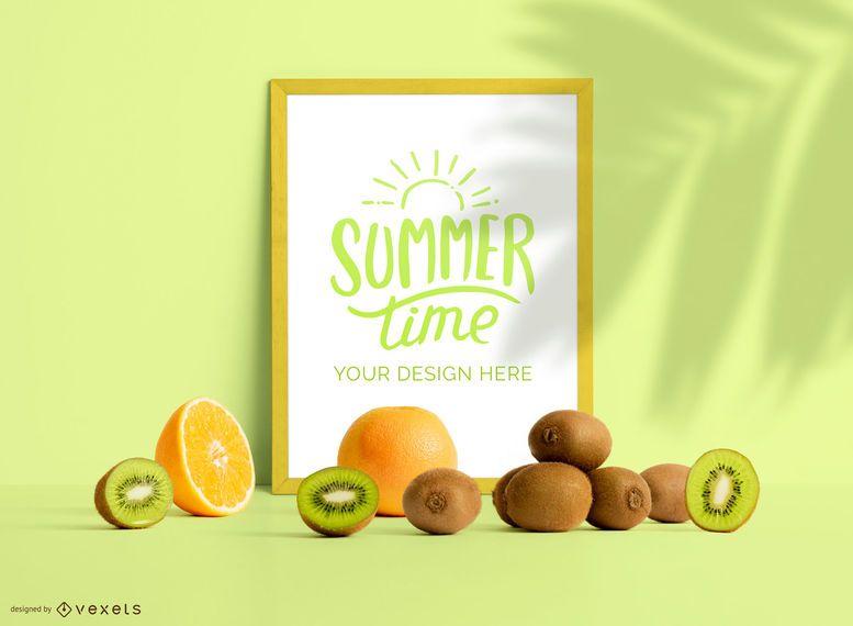 Framed poster fruits mockup composition