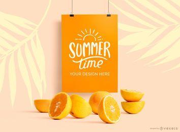 Maquete de cartaz de suspensão maquete de laranjas