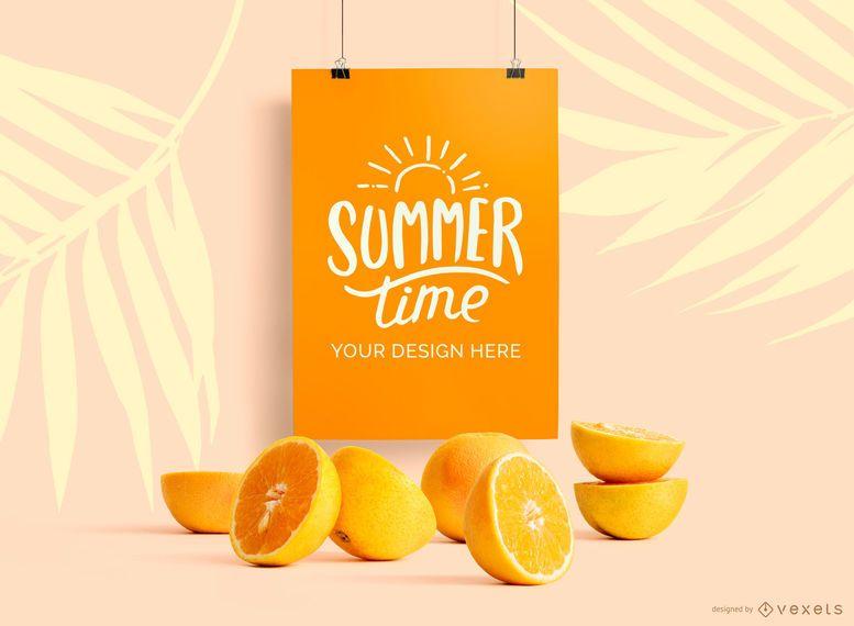 Hanging poster mockup oranges mockup