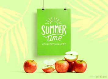 Maquete de cartaz de suspensão maquete de maçãs