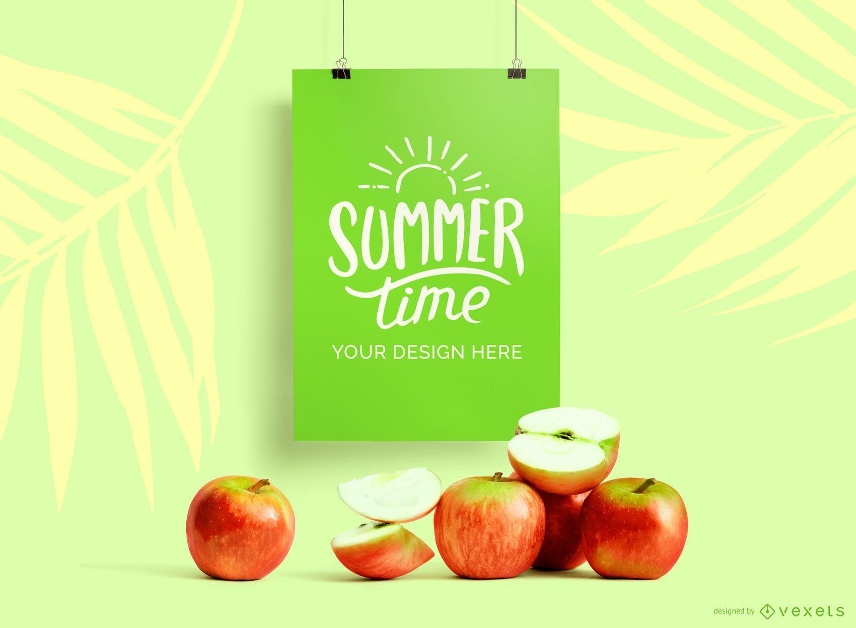 Hanging poster mockup apples mockup