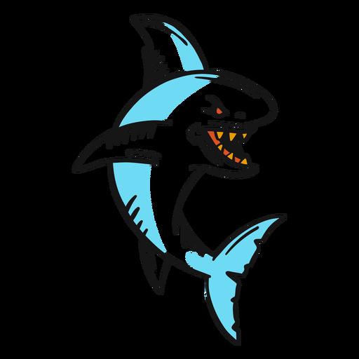 Tatuaje vintage de tiburón enojado