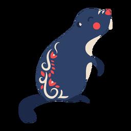 Ornamento de arte folclórica de castor