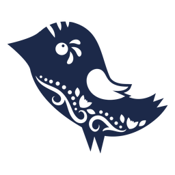 Silueta de adorno de arte popular de aves