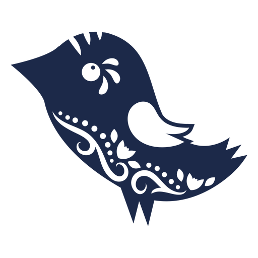 Pájaro arte popular ornamento silueta