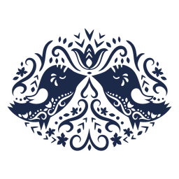 Aves folk art silueta floral